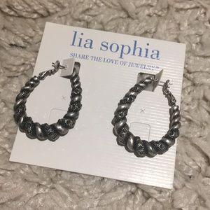 NWT - Lia Sophia twist hoop earrings